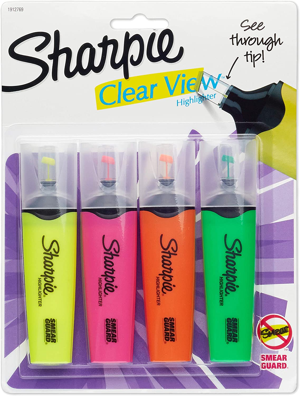 Sharpie 1912769 Clear View Highlighters, Chisel Tip, Assorted Colors, 4-Count : Office Products