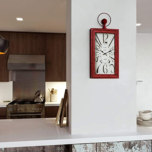 Home Decor Waverly Red Wall Clock Black Red White Transitional Rectangular Metal Minute Hand Numerical Display