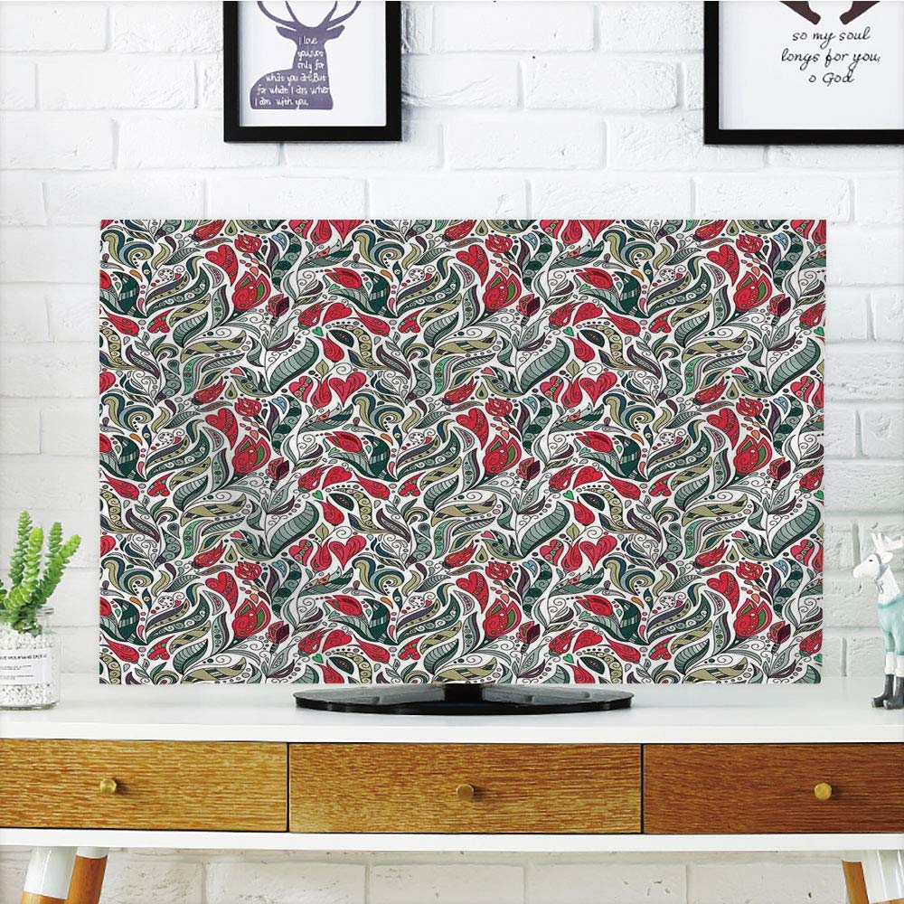LCD TV ダストカバー レトロ 水玉とアジアンエスニックペイズリーオーナメント アートプリント スレートブルーライトピンク 3Dプリントデザイン 32インチテレビ対応 TV 55