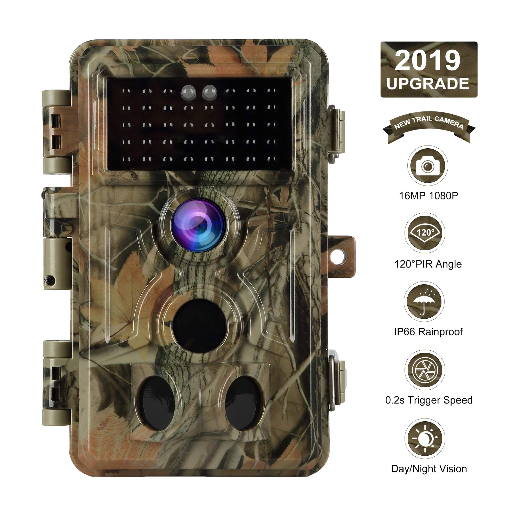 【2019 Upgrade】 Trail Camera 16MP 1080P Game Camera with No Glow Night Vision Up to 65ft 0.2s Trigger Time Motion Activated 2.4'' Color Screen and Easy Operate Keypad Waterproof Wildlife Hunting Camera