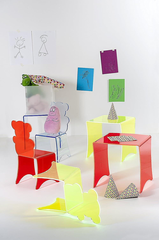 42x40x41 cm Iplex Design Yogi Table Tavolo per Bambini in Plexiglass Fluorescente Azzurro Fluo PMMA