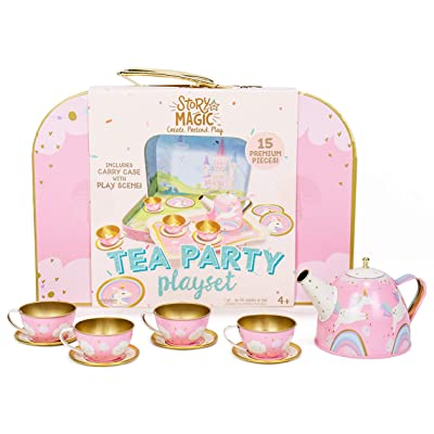 Story Magic Tea Party Playset by Horizon Group USA,Unicorn Tea Set,Pretend Play Activity,On The Go Play,Unicorn Storage Carry Case,Includes Tea Pot,Tea Cups,Plates & Saucers, Perfect for Ages 4+: Toys & Games