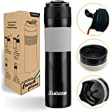 Sisitano 2in1 Travel French Press Coffee Maker, Portable 11.8 oz Tumbler Coffee French Press for Ground Coffee & Tea Leaves;