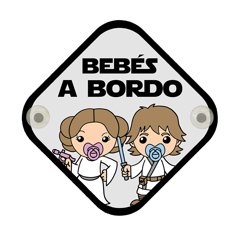 Cartel madera Bebés a bordo. Parodia Star Wars - Leia y Luke. Bebé friki. Bebé a bordo. ClickInk