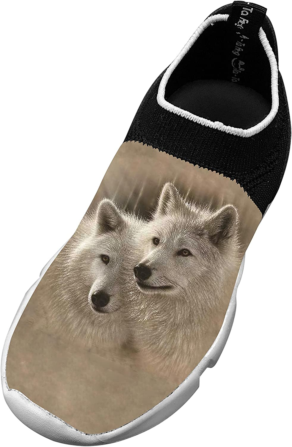 New Trendy Flywire Weaving Jogging Shoes 3D Ceative With Wolf For Unisex Child