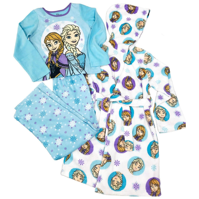 Toddler Girls Frozen Plush Hooded Robe /& Pajamas Set