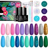 Beetles Gel Nail Polish Kit, Mermaid Mantra 20 Colors Soak Off Gel Polish Starter Kit with 1 Base Coat 1 Glossy & 1…