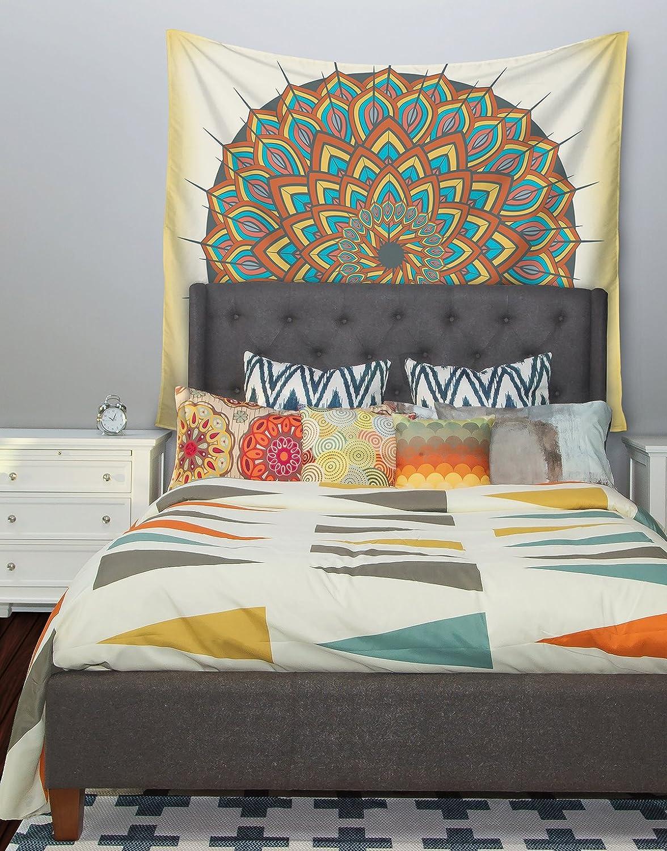 68 X 80 Kess InHouse Famenxt Floral Mandala Multicolor Geometric Wall Tapestry