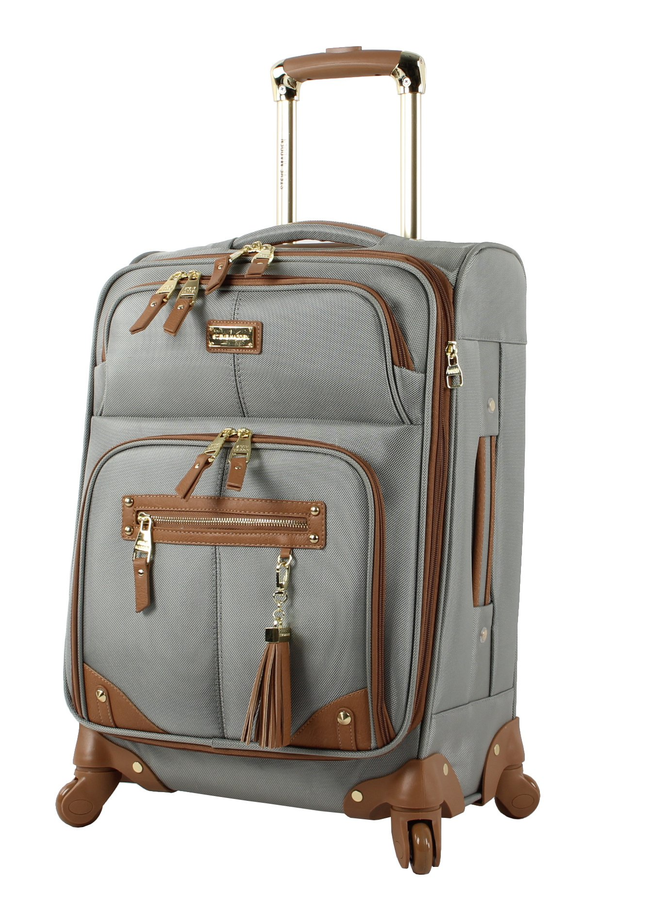 Steve Madden Luggage Carry On 20'' Expandable Softside Suitcase With Spinner Wheels (20in, Harlo Gray)