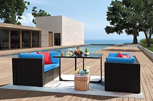 JUMMICO 5 Piece Patio Dining Sets Wicker Rattan Patio Furniture Set Outdoor Sectional Sofa