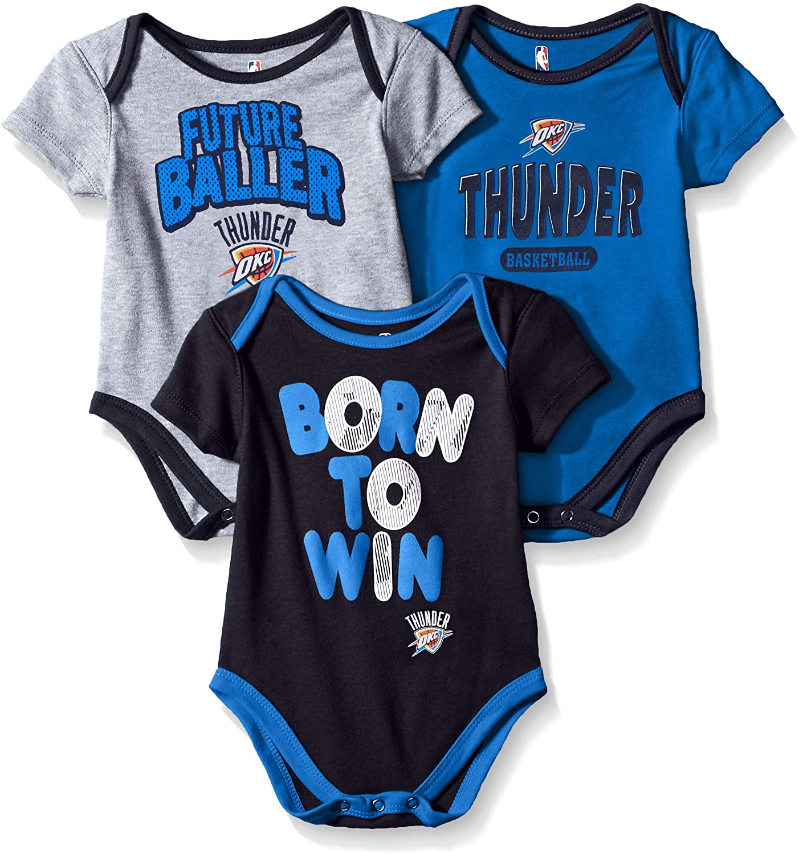 18 Months NBA by Outerstuff NBA Newborn /& Infant Oklahoma City Thunder Little Fan 3pc Bodysuit Set Heather Grey