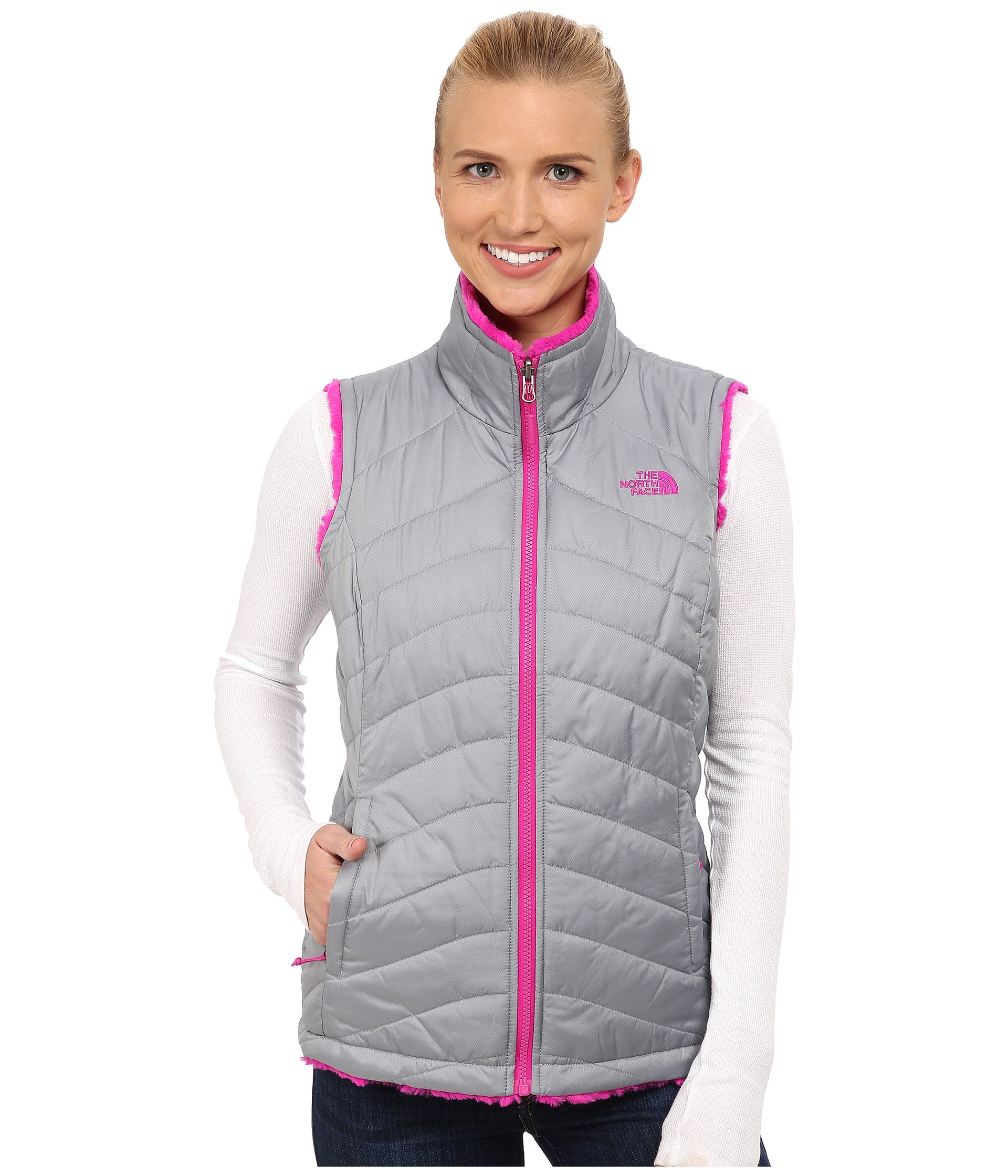 The North Face Mossbud Swirl Reversible Vest Womens Mid Grey/Luminous Pink S