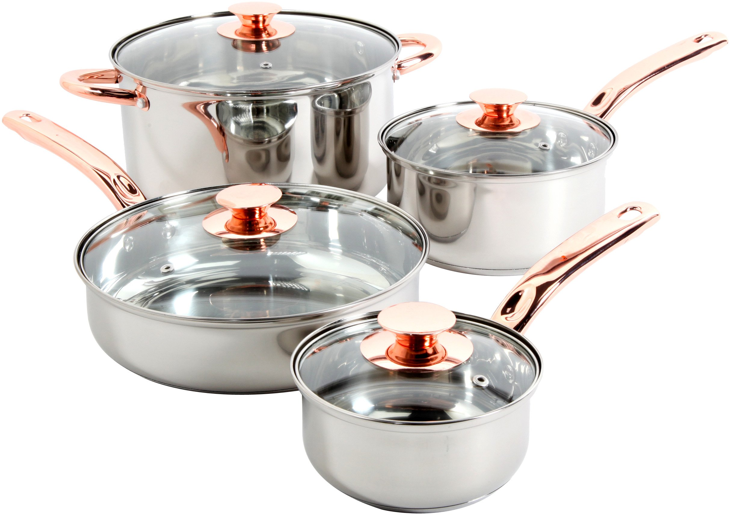Sunbeam 91345.08 Ansonville 8-Piece Cookware Set, Silver/Copper by Sunbeam