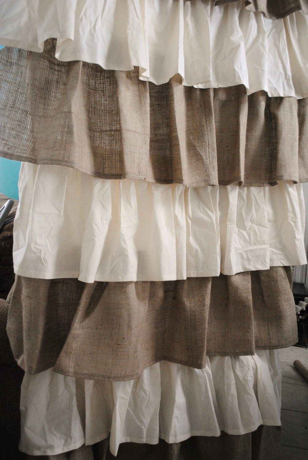 Image of Home and Kitchen Burlap And Cotton Ruffle Curtains