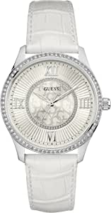 Guess Broadway Women's White Dial Leather Band Watch - W0768L4