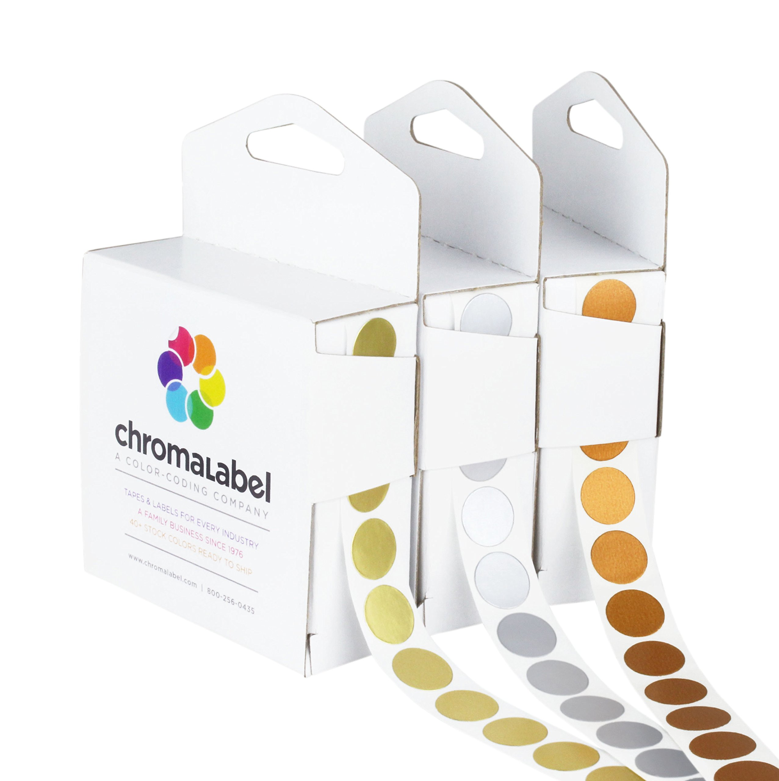 ChromaLabel Metallic Color-Code Dot Label Kit | Assorted Gold, Silver, Bronze | 1,000/Dispenser Box (1/2 inch) by ChromaLabel (Image #1)