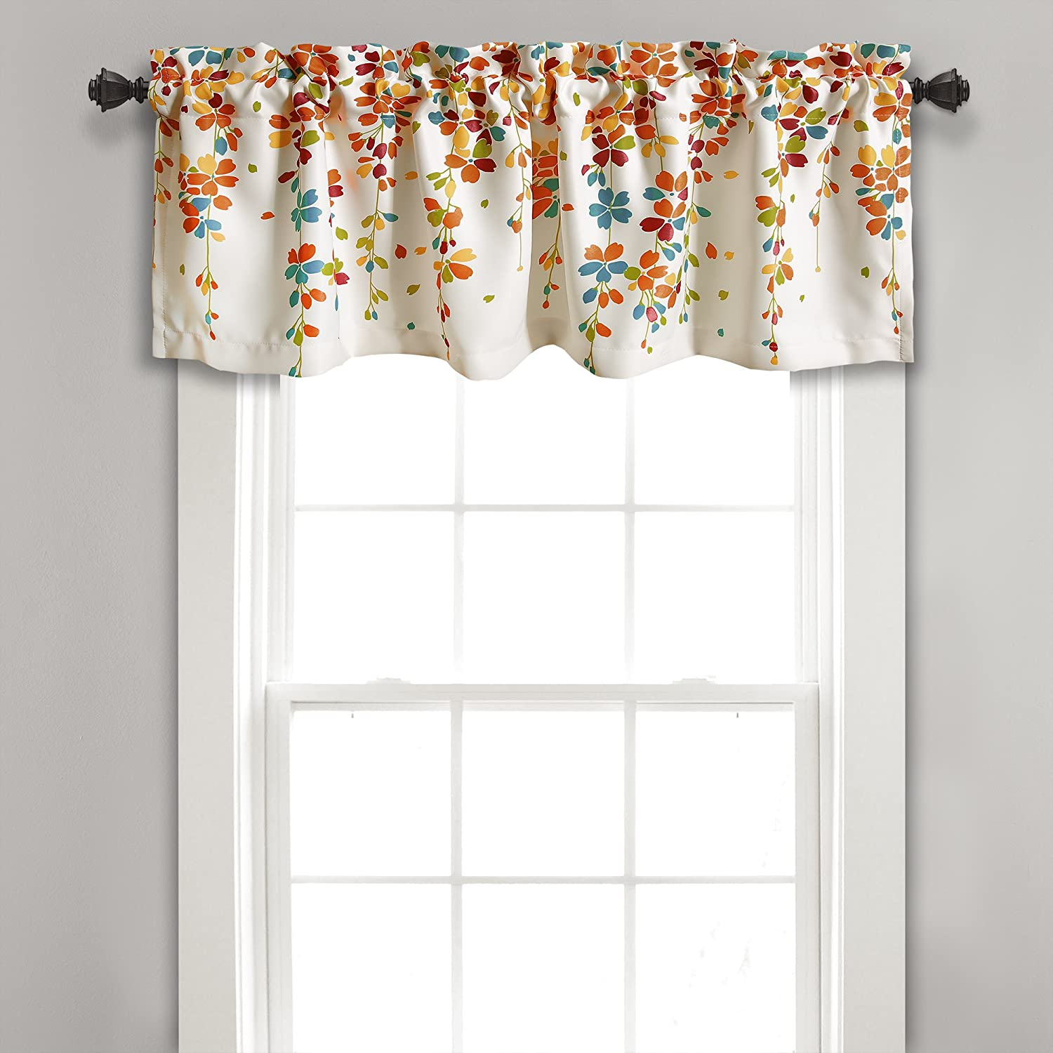 "Lush Decor Weeping Flowers Turquoise and Tangerine Valance Curtain for Windows, 18"" x 52"""