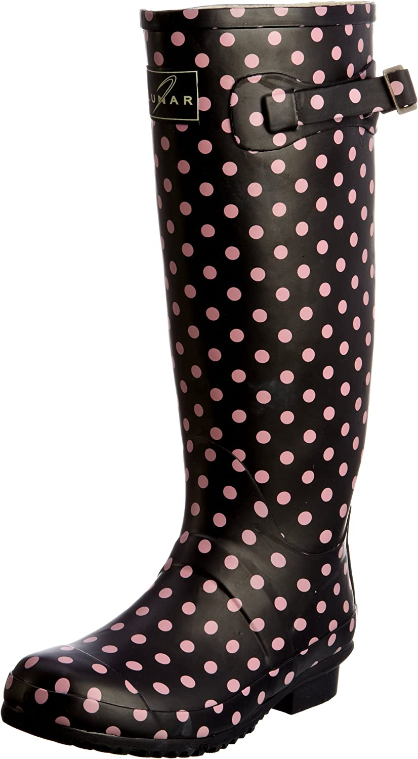 Womens Spot Welly Blue/Pink Wellingtons Boots ELW003 6 UK, 39 EULunar