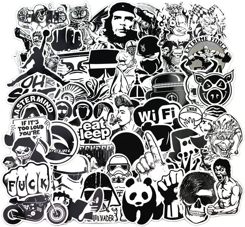 Snowboard Luggage Guitar Bikes Cars Skateboards Helmet Bumpers BestMall 100 Pcs Black White Vinyl Sticker Graffiti Decal Perfect to Laptops Motorcycle Window Cellphone