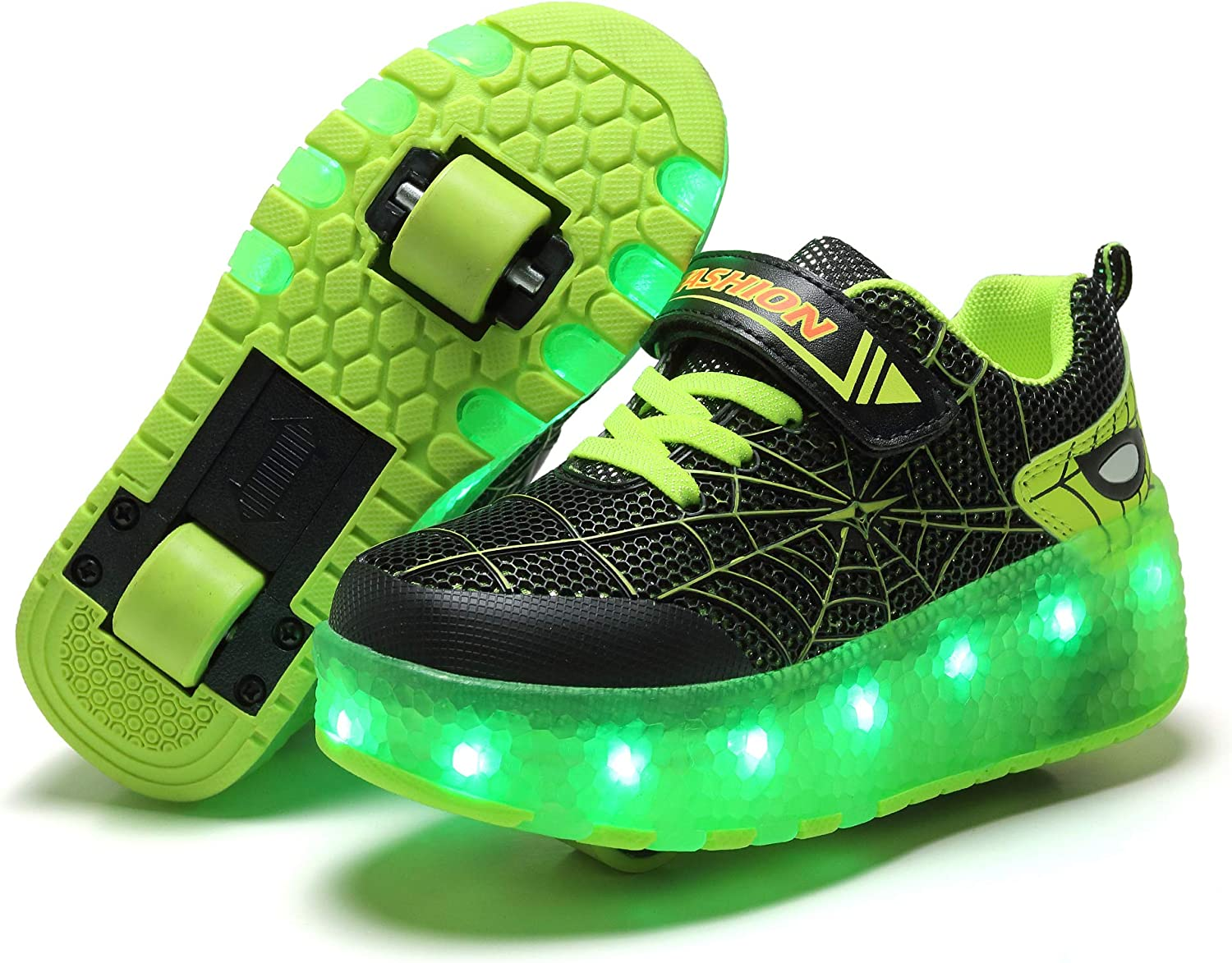 Children/'s Double Roller Skates USB Charge LED Lights Sports Running Shoes 28-39
