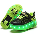 Ylllu Kids LED USB Charging Roller Skate Shoes with Wheel Shoes Light up Roller Shoes Rechargeable Roller Sneakers for…