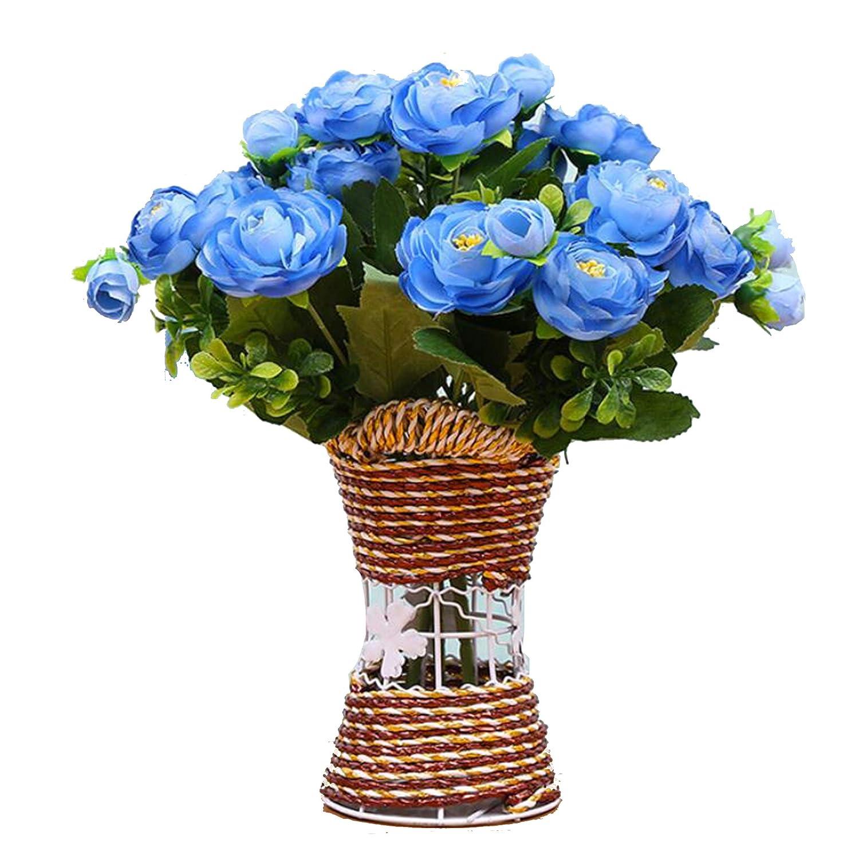 XuanMax 造花 花瓶付き 造花 造花 ブーケ DIY 装飾 花束 アレンジメント ホームデコレーション 装飾 ウェディングパーティー オフィス テーブル デスク装飾 ブルー FEIYUE5-CHABAO-BLU B07GXCWJLV ブルー
