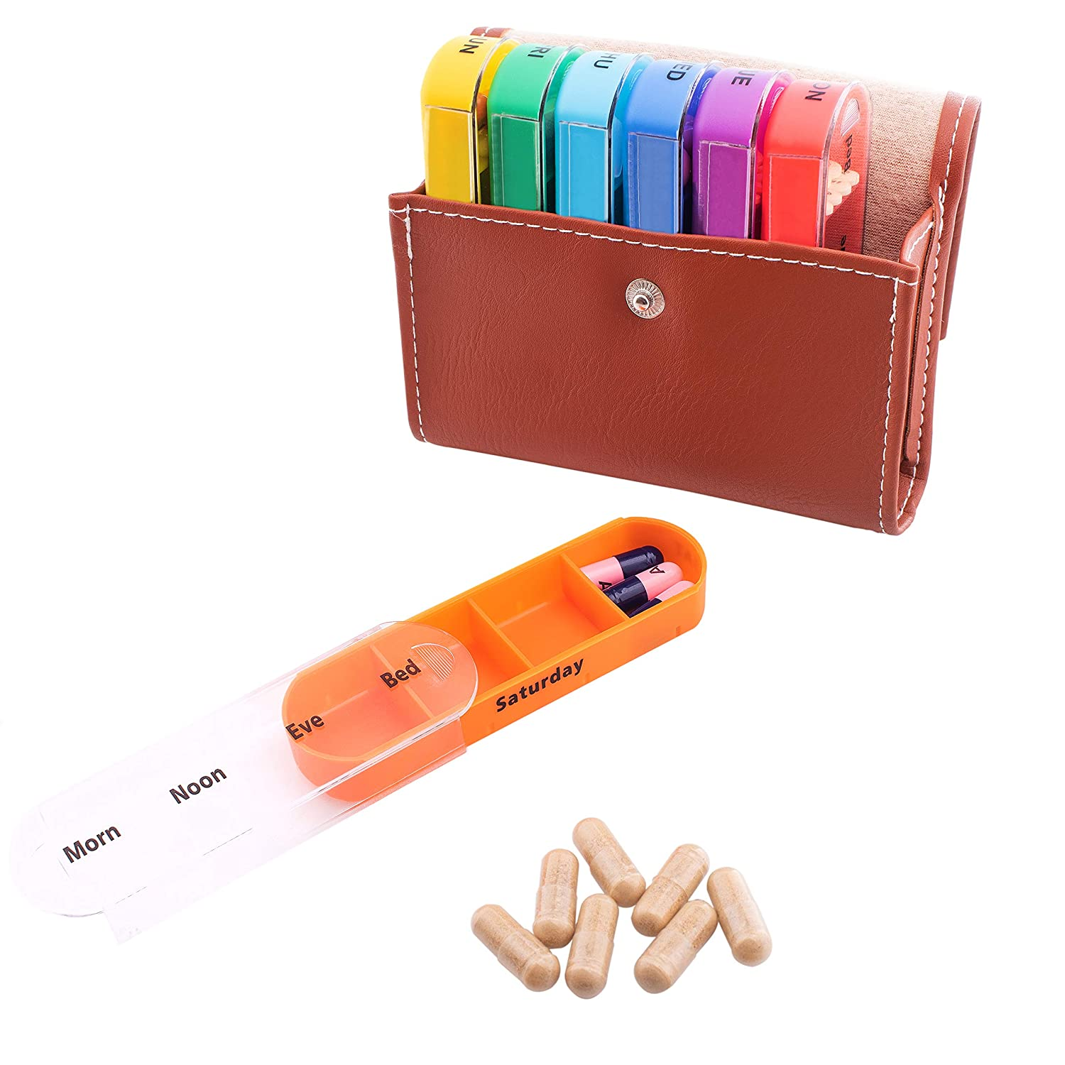 Pill Organizer Box with Weekly Case | Includes Brown Traveling Leather PU  Carrying Pouch |