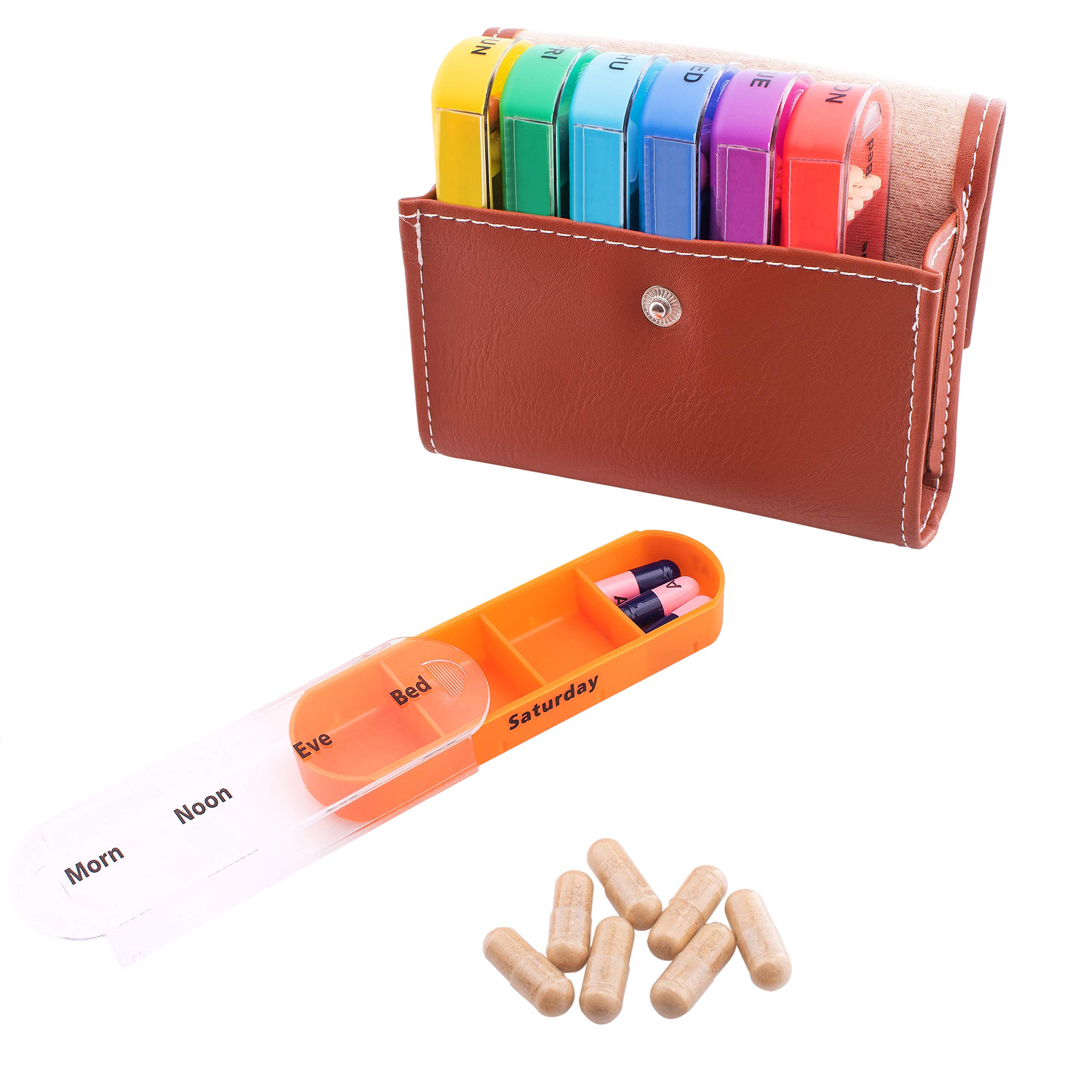 Pill Organizer Box with Weekly Case | Includes Brown Traveling Leather PU Carrying Pouch | Travel Medication, Prescription, Vitamin Dispenser | Reminder Daily AM PM and Day Night 7 Compartments