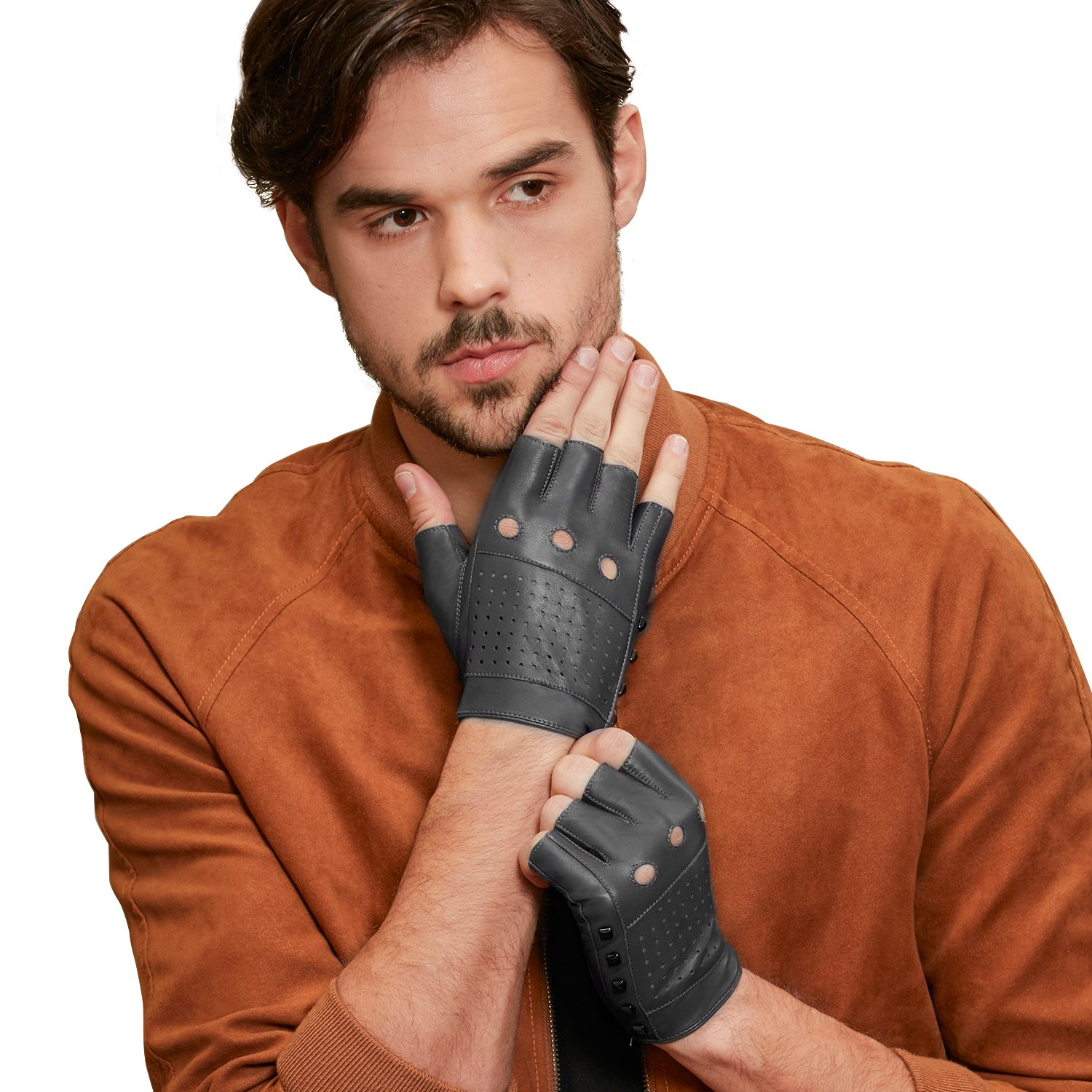 GSG Punk Studs Driving Cycling Leather Gloves Motorcycle Fingerless Gloves Mens Half Finger Hip Hop Gloves Grey 11