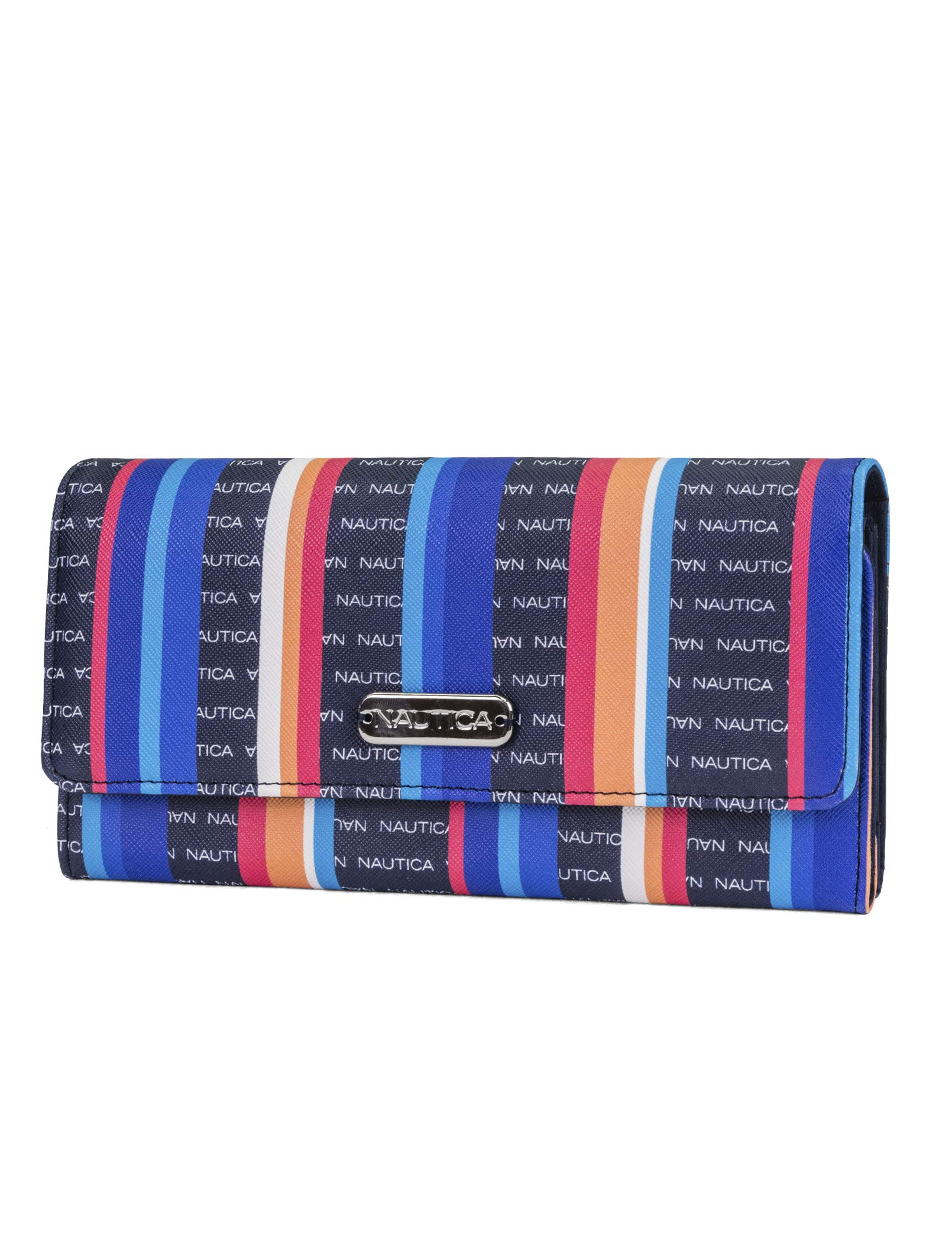 Nautica Money Manager RFID Women's Wallet Clutch Organizer (Bay Stripe)