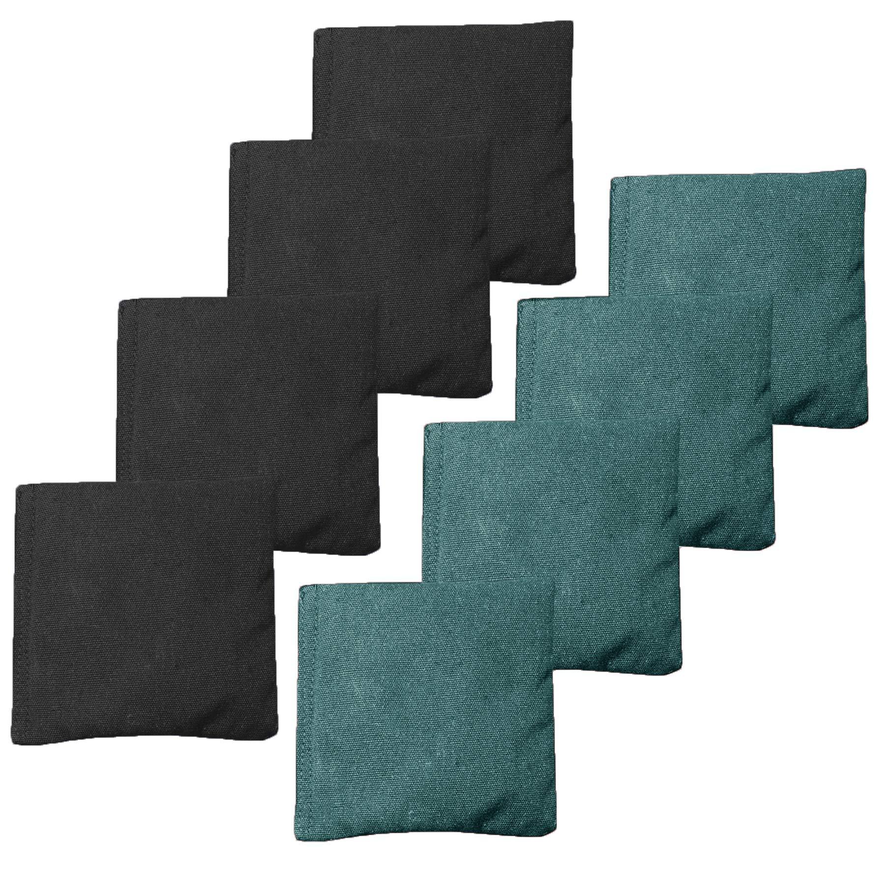 All Weather Cornhole Bean Bags Set of 8 - Duck Cloth, Regulation Size & Weight - Hunter Green & Black
