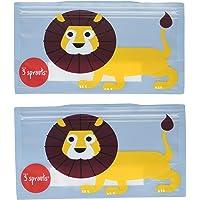 3 Sprouts Reusable Snack Bag - Lion, Blue, 2 Count