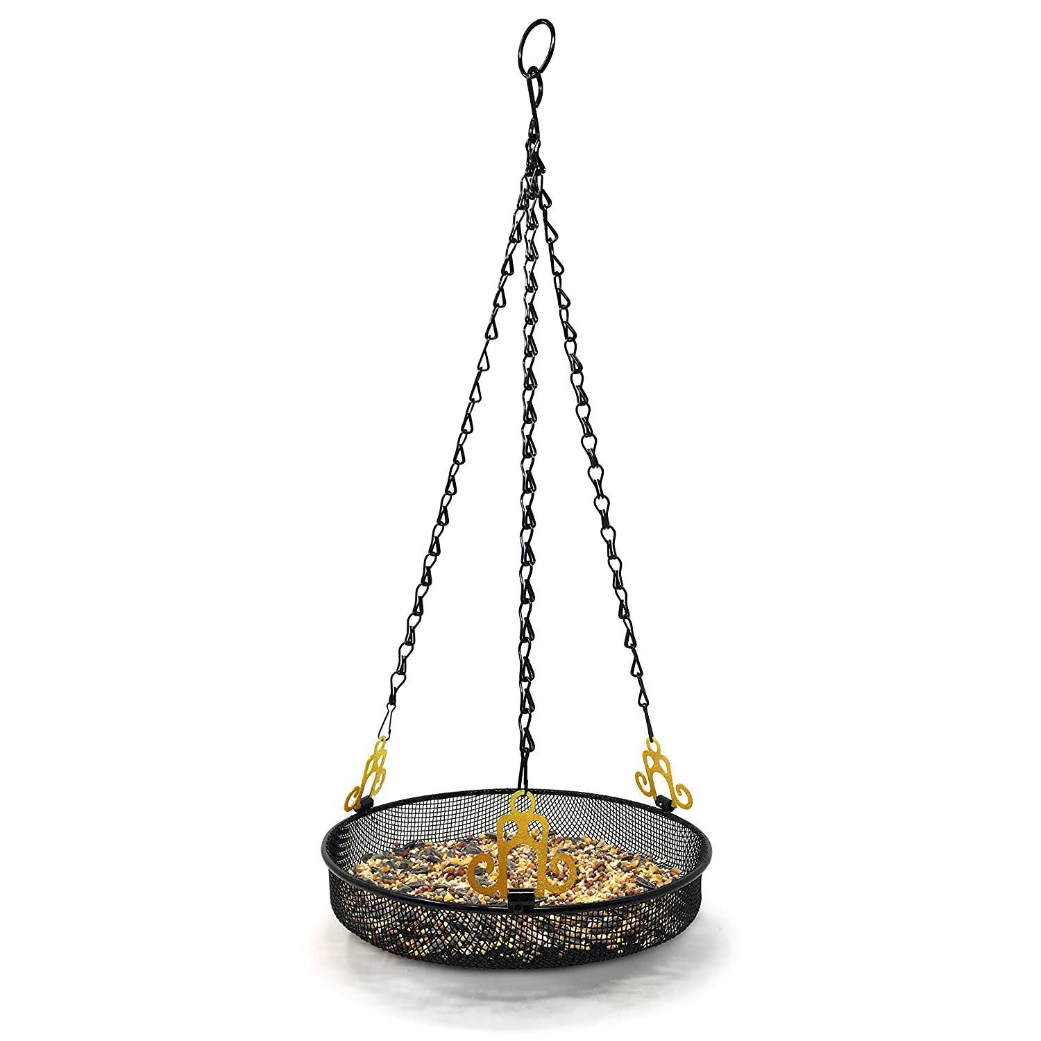 Gray Bunny Hanging Bird Feeder Tray with Strong Double-Loop Hanging Chains Steel Hanging Platform Bird Feeder Dish 9.25 inch (Dia) with 19 Inch Chains