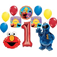 Sesame Street Party Supplies 1st Birthday Cookie Monster Elmo and Friends Balloon Bouquet