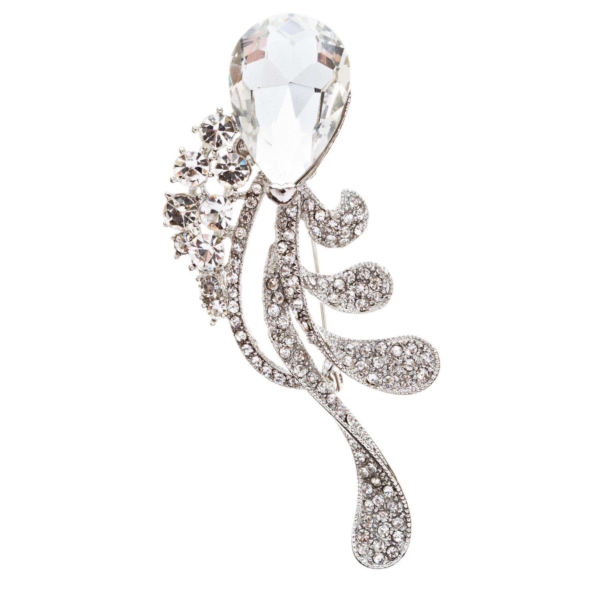 ACCESSORIESFOREVER Bridal Wedding Jewelry Crystal Rhinestone Chic Tear Drop Brooch Pin BH75 Silver