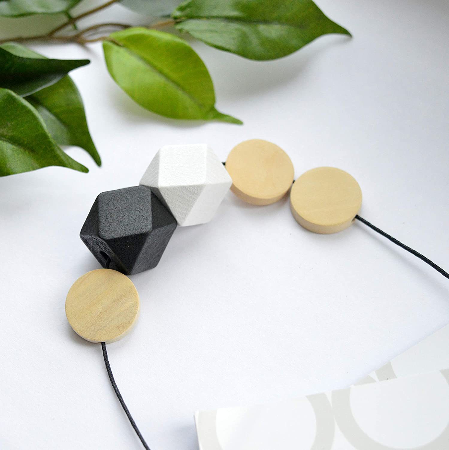 Black and white monochrome geometric wooden necklace