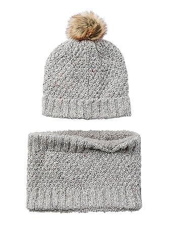 9522b22218d Vertbaudet Ensemble bonnet + snood fille Gris clair chiné 2 3 A  Amazon.fr   Vêtements et accessoires