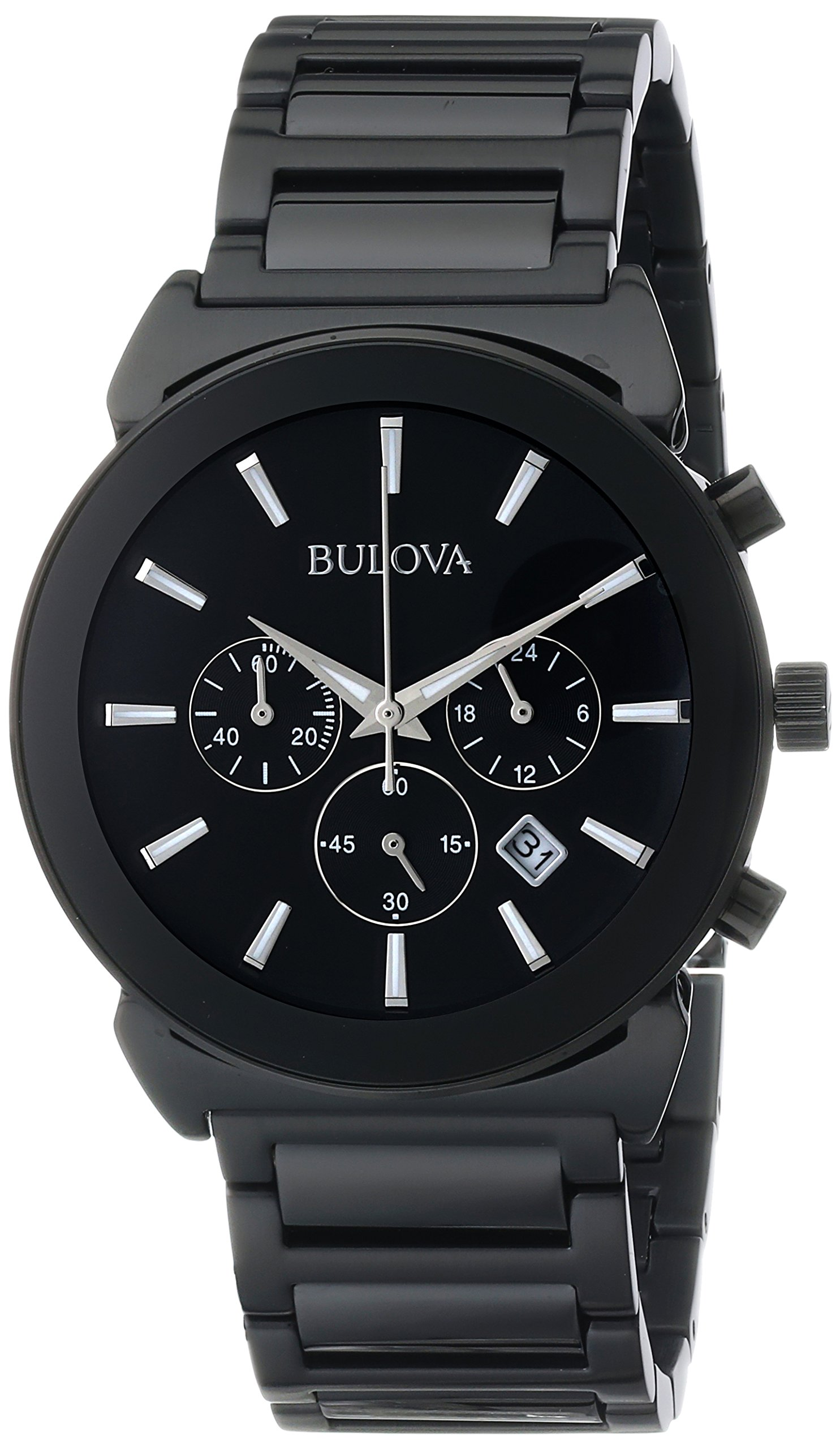 Bulova Men's 98B215 Analog Display Japanese Quartz Black Watch