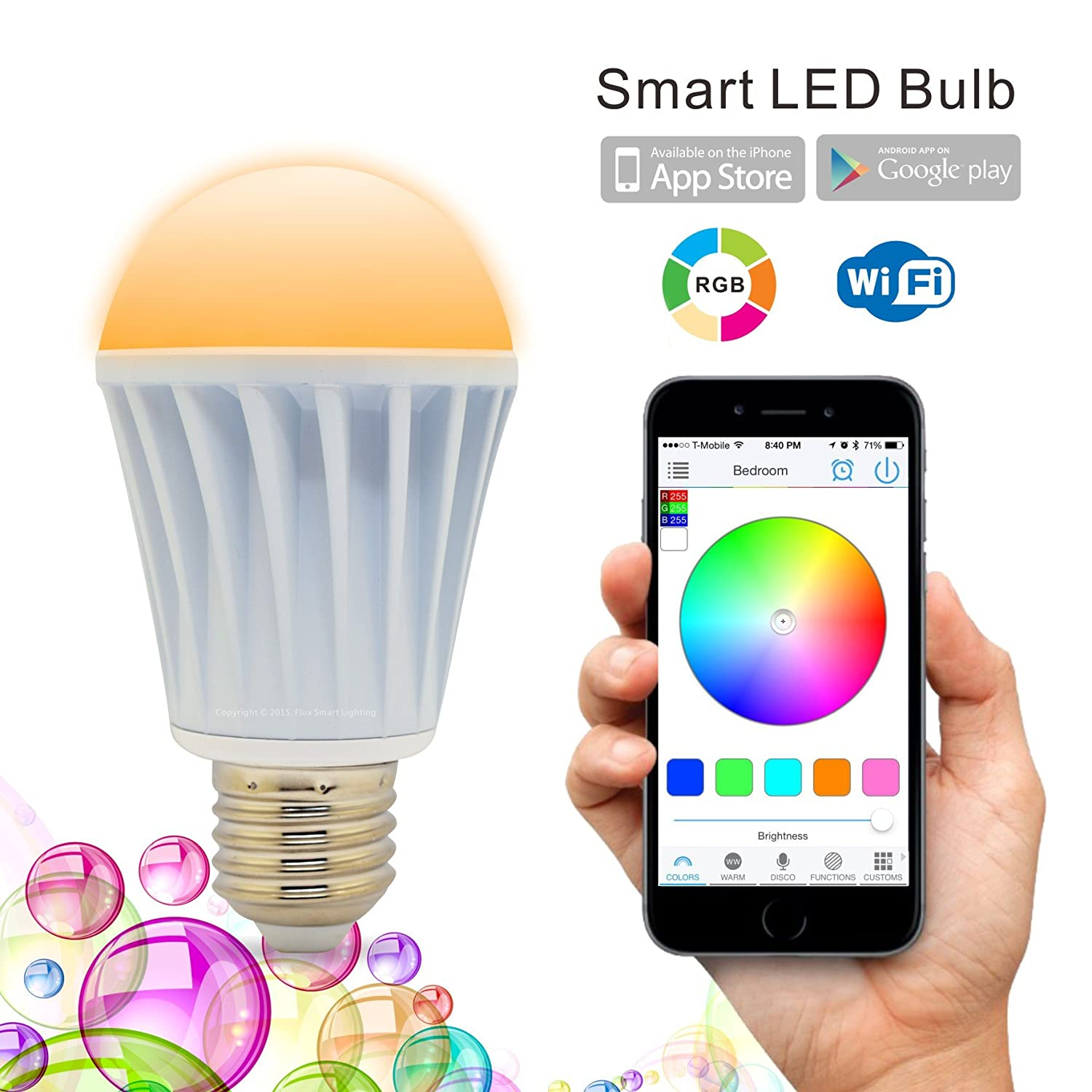 flux wifi smart led light bulb works with alexa smartphone