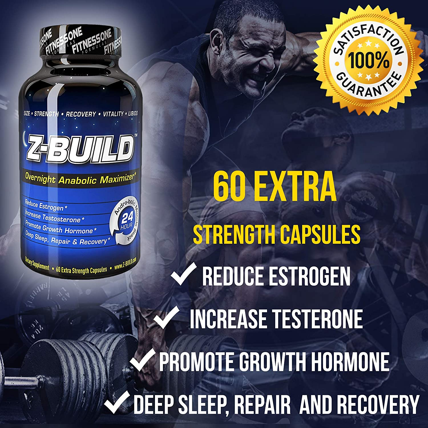 Z-BUILD-OVERNIGHT MUSCLE BUILDER-60 Capsules: Scientifically designed to promote...