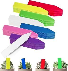 BEADNOVA Plant Labels 140pcs Plant Tags Multicolor Identification Stakes Plastic Plant Labels for Pots Garden (4 Inch, 7 Colors)