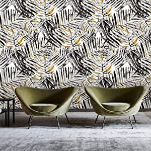 Belzesso Modern Watercolor Tropical Leaves Peel and Stick Wallpaper Self-Adhesive Removable Wall Decor for Home Bedroom Walls Cabinets, 118.1in Length x 17.7in Width