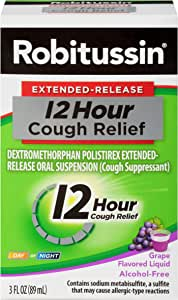 Robitussin Extended-Release 12 Hour Cough Relief (3 fl. oz. Bottle, Grape Flavor), Alcohol-Free Cough Suppressant