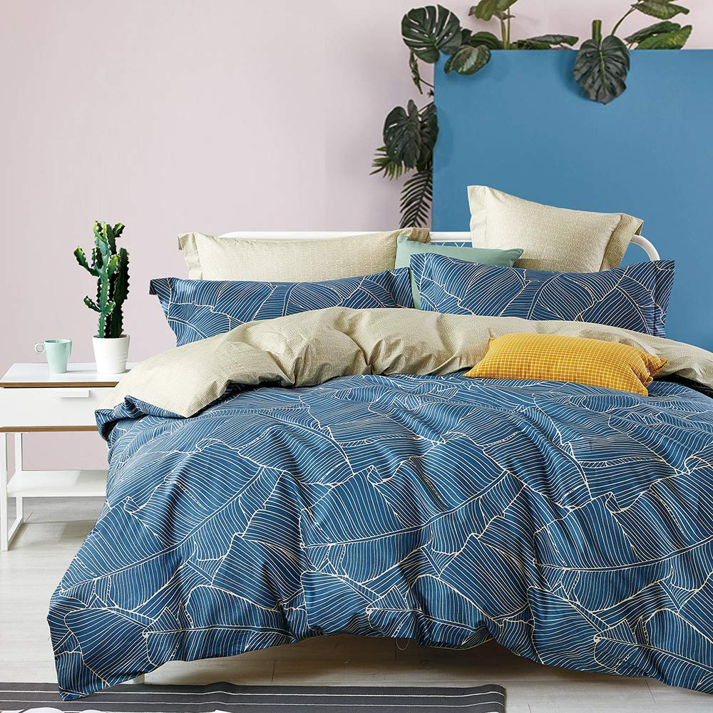 Mivedia Collection Duvet Cover California King Premium Cotton Leaves Duvet Cover Set Covers with Zipper Closure Ultra Soft Breathable 3-Piece Kids Boys Bedding Set California King