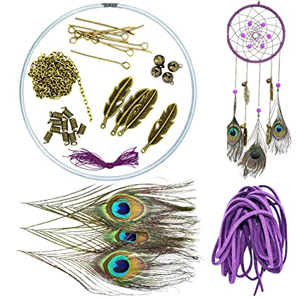Ancefine Peacock Feather Diy Dream Catcher Kit
