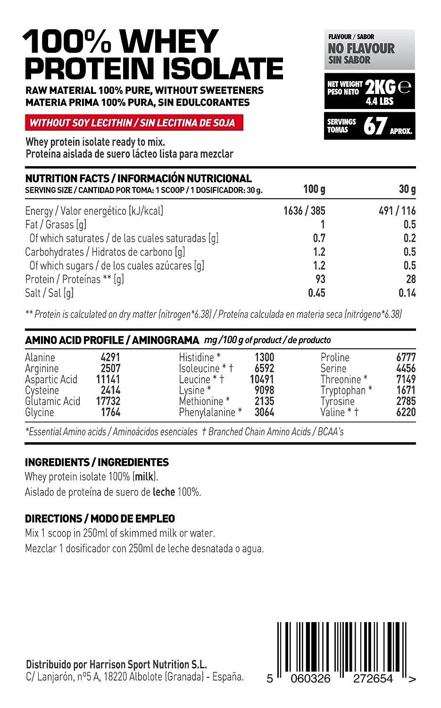 HSN Raw - Proteína Aislada de Suero Lácteo (100% Whey Protein Isolate) - En Polvo - Sabor Neutro - 2000 gr: Amazon.es: Salud y cuidado personal