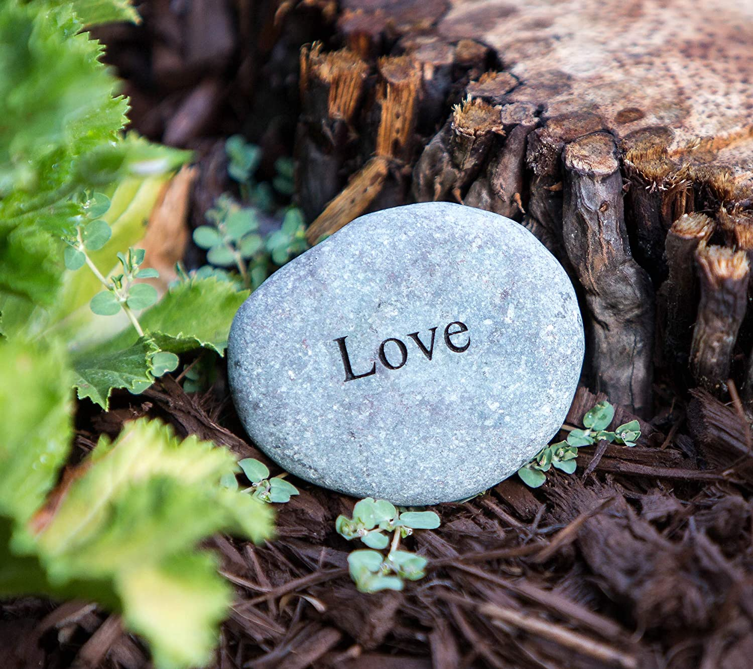 Garden Age Supply Love Engraved Stones Natural Beach Pebble Inspirational Message Stones, Great Anniversary or General Romantic Gifts