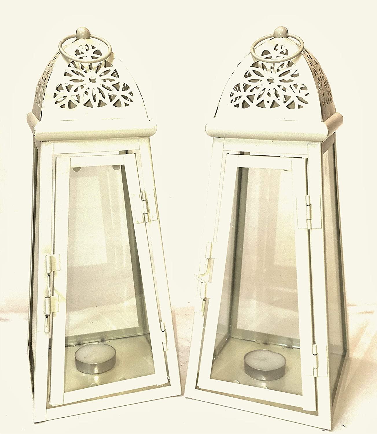 set of 2 Cream Lantern Metal & Glass 30 cm tall with FREE t lights Link Products