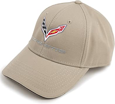 Corvette /& Racing Flags Embroidery HEM HIGH-END MOTORSPORTS Grey Cotton//Twill Hat for Chevrolet Corvette C7