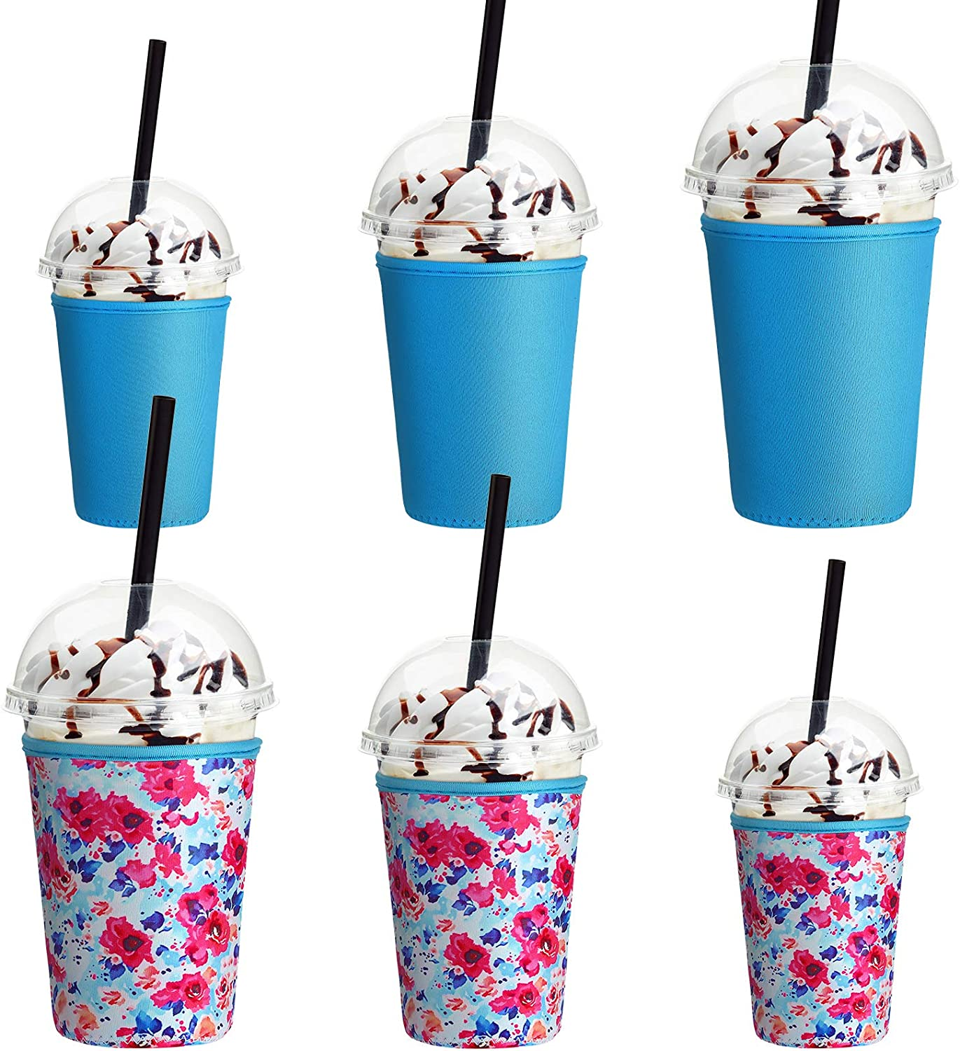 6 Pieces Reusable Ice Coffee Cup Sleeve 3 Sizes Insulator Drinks Cup Sleeves Insulated Neoprene Cup Holder for 16 to 32 oz Cold Hot Drink Coffee Tea Beverages Cup Bottle (Blue and Flower Patterns)